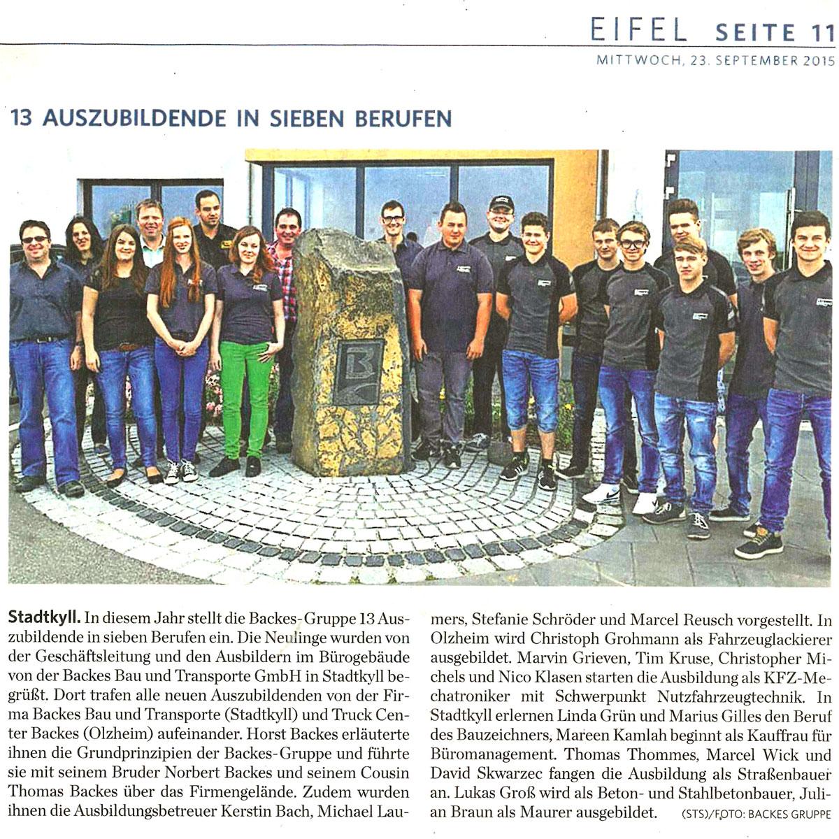 Backes Bau- und Transporte GmbH Azubis-2015